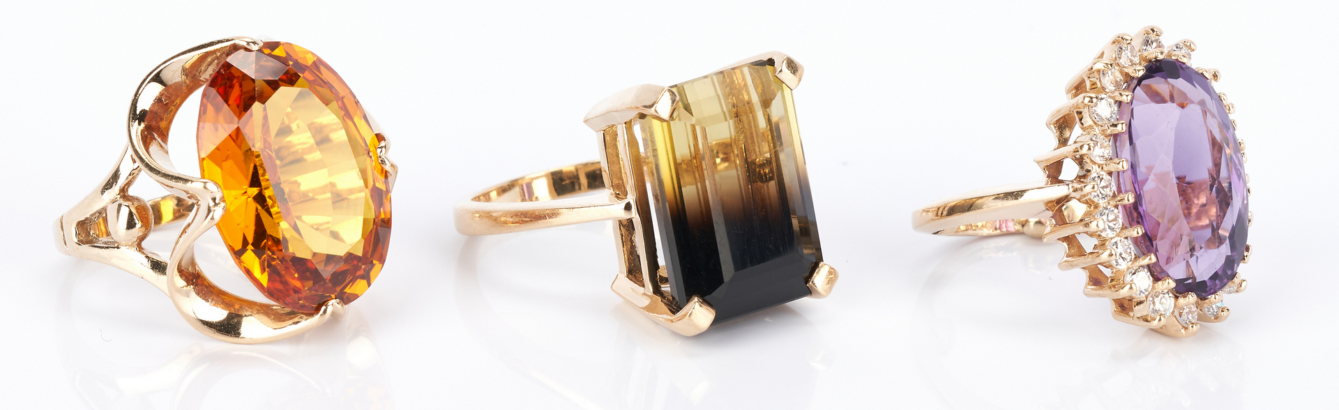 Lot 733: 3 Ladies Gold and Gemstone Rings