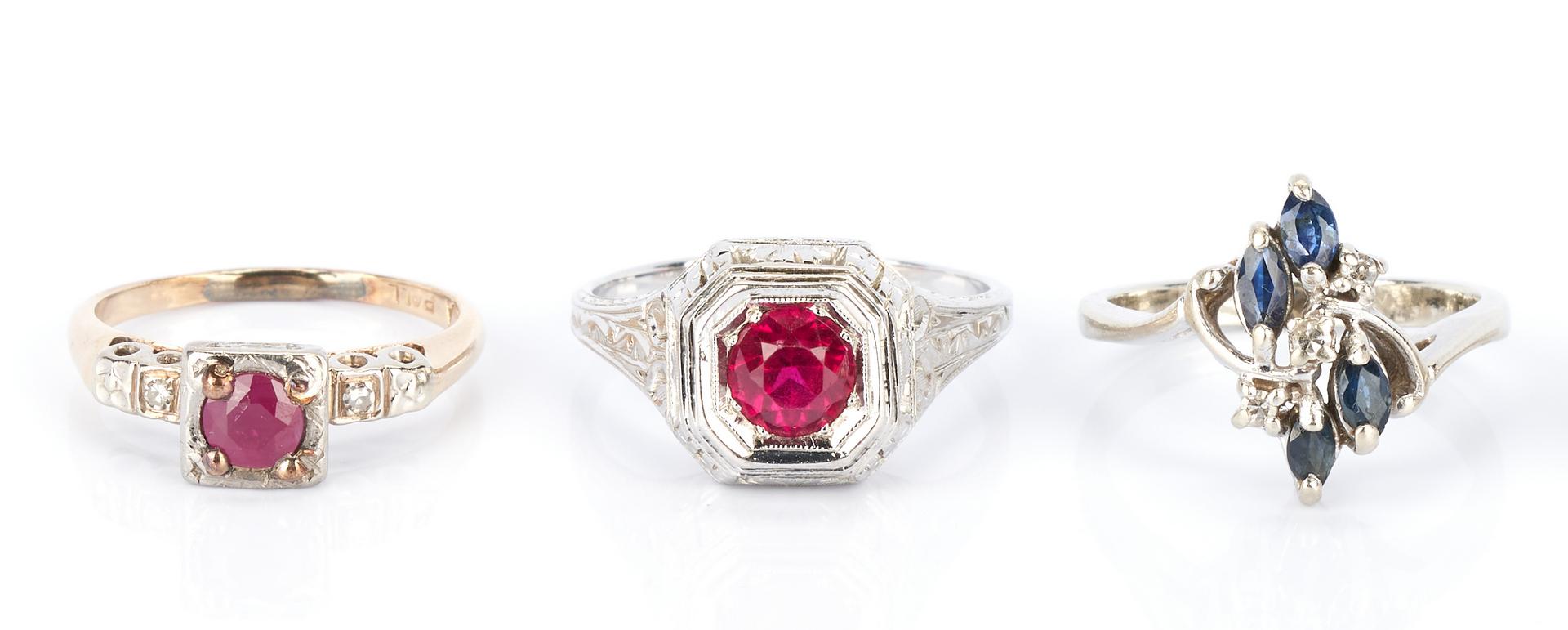 Lot 734: 6 Ladies Gold, Diamond, and Gemstone Rings