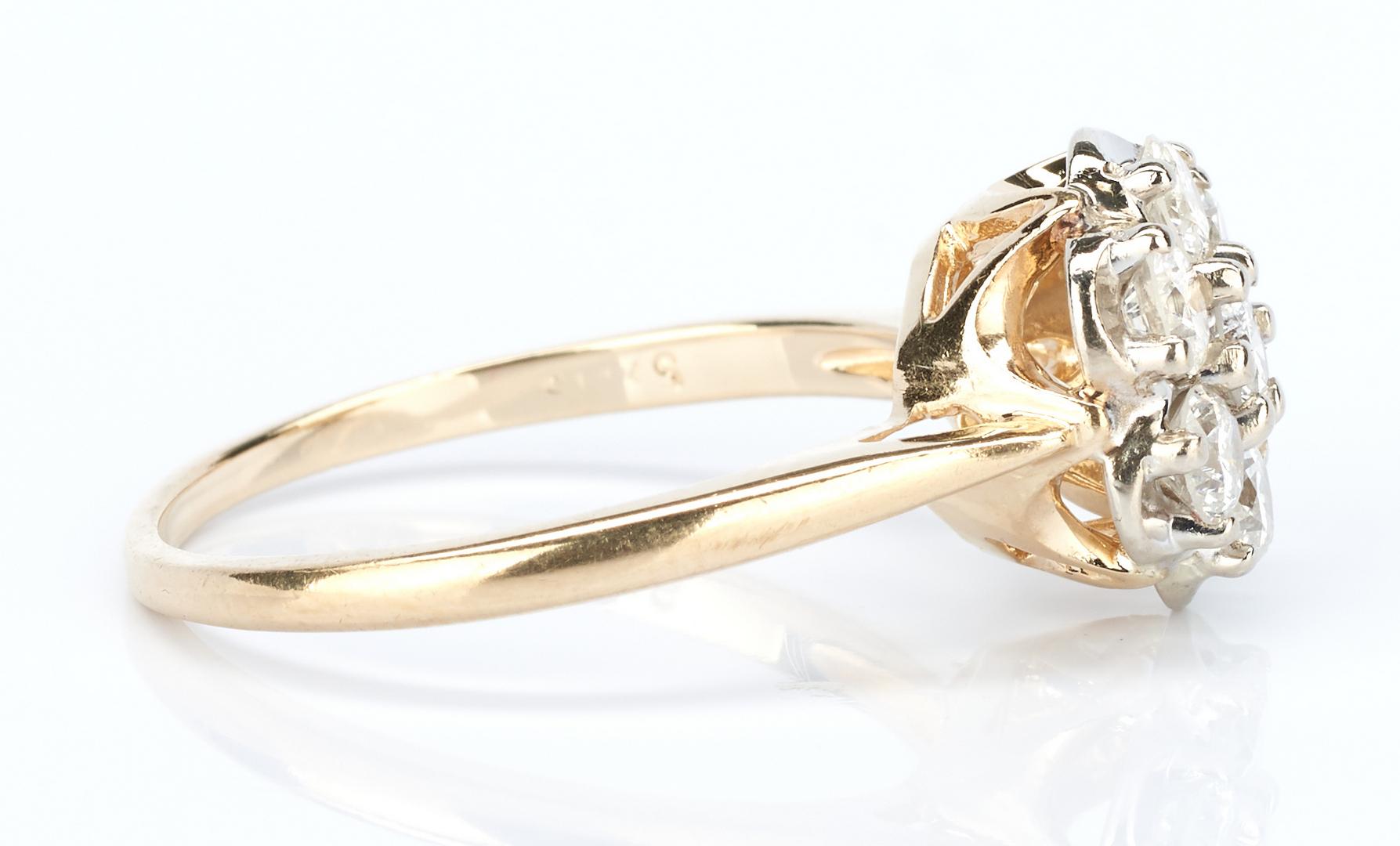 Lot 737: 3 14K Diamond Rings, 2 sets & 1 single