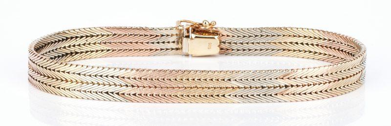 Lot 739: Ladies 14K Tri-Color Double Foxtail Bracelet