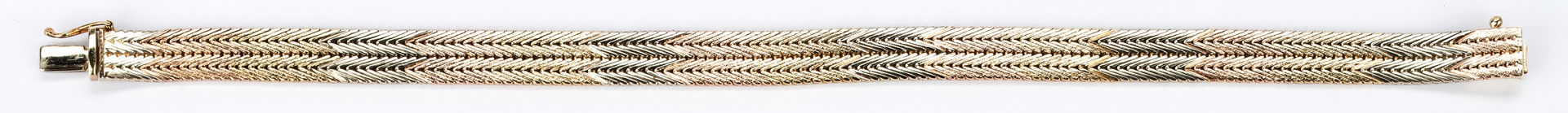 Lot 739: Ladies 14K Tri-Color Double Foxtail Bracelet