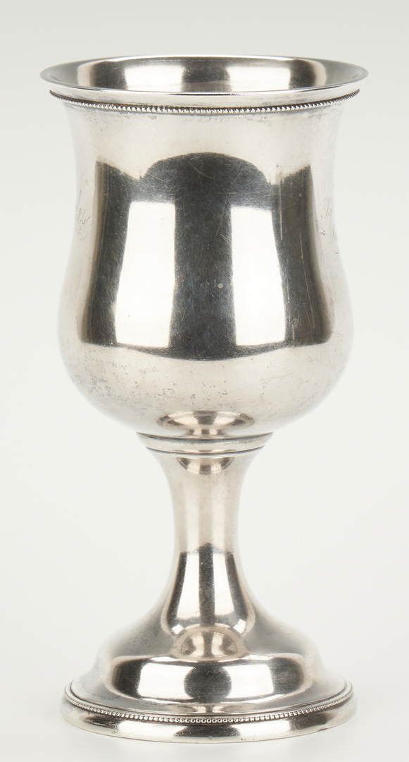 Lot 73: J. Kitts Agricultural Coin Silver Goblet