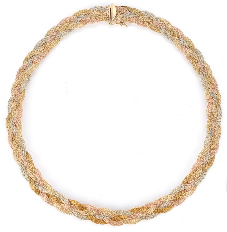 Lot 741: Ladies 14K Tri-Gold Braided Necklace