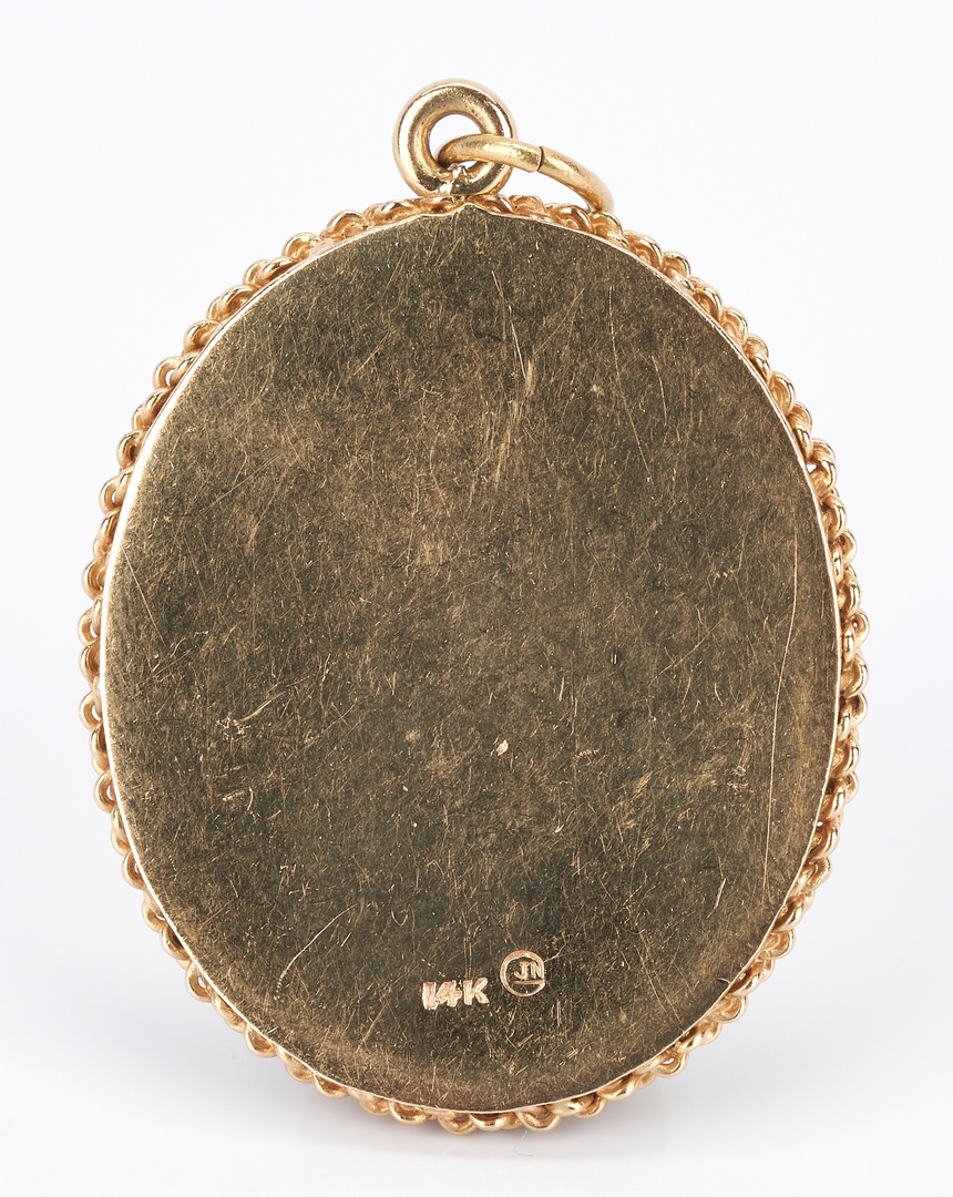 Lot 742: 3 Items: Gold Ring, Pendant, and Earrings
