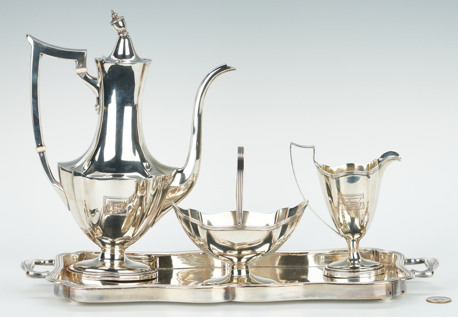 Lot 750: Sterling Bachelor's Tea Set with s/p tray