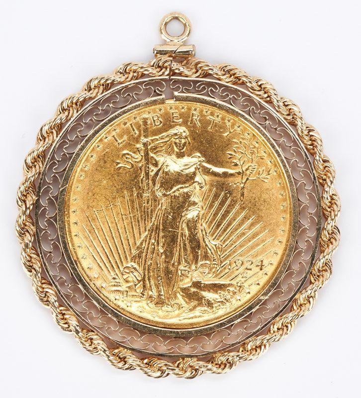 Lot 755: 1924 20 Dollar Saint Gaudens Gold Piece in 14K Bezel