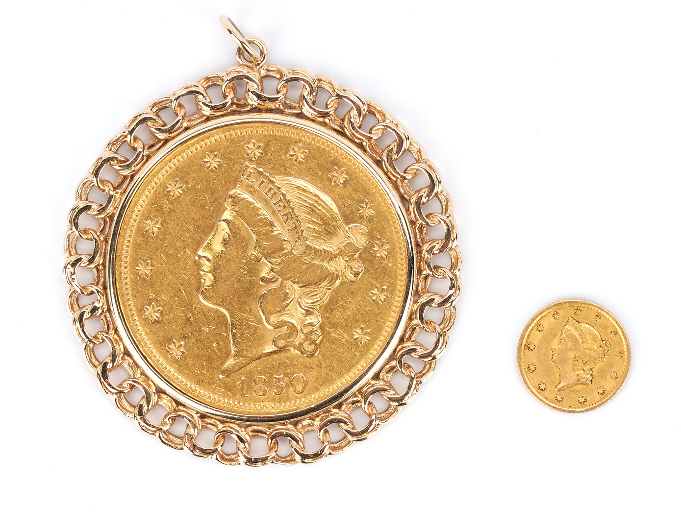 Lot 757: 1850 $20 Gold piece, Mounted, plus 1851 $1 Liberty Head