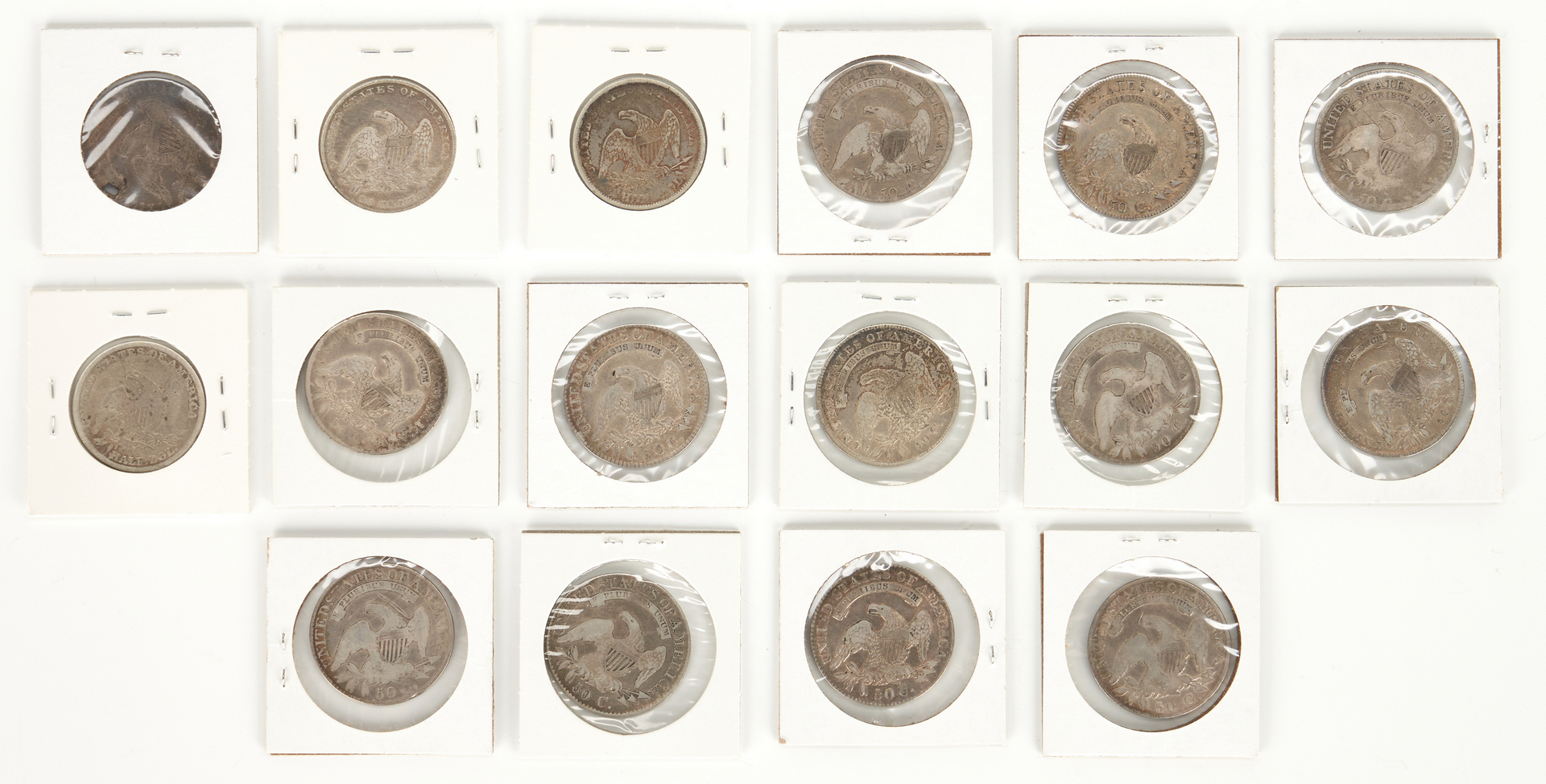 Lot 759: 16 US Capped Bust Silver Half Dollars, 1808-1839
