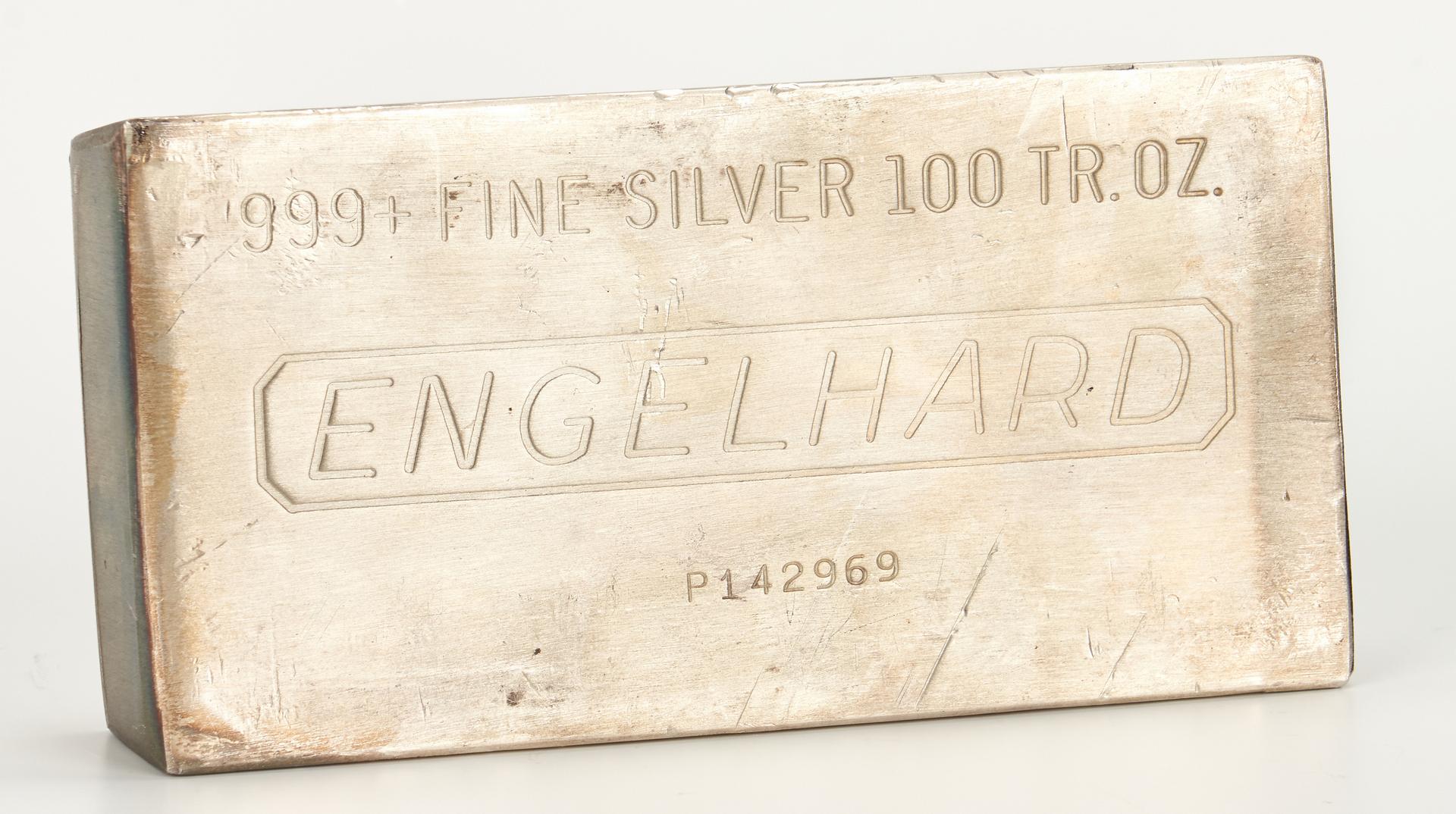 Lot 760: Engelhard Silver Ingot, 100 Troy Ounces