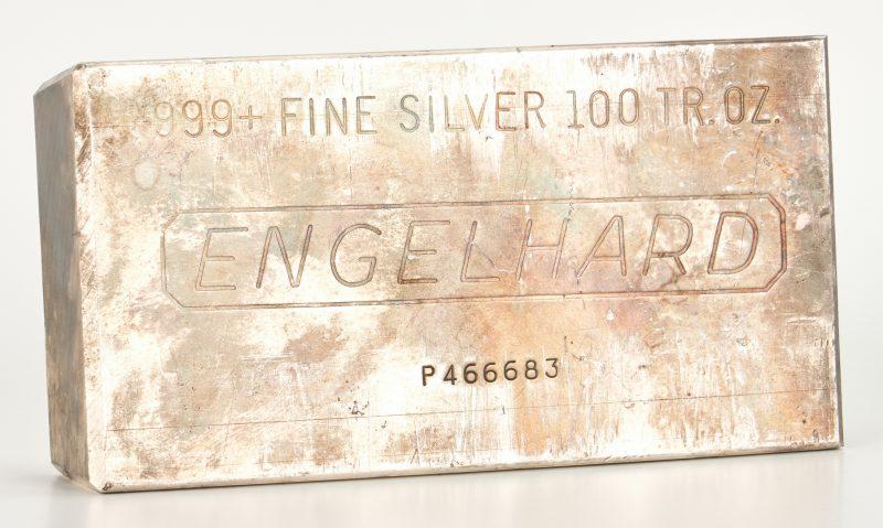 Lot 761: Engelhard Silver Ingot, 100 Troy Ounces