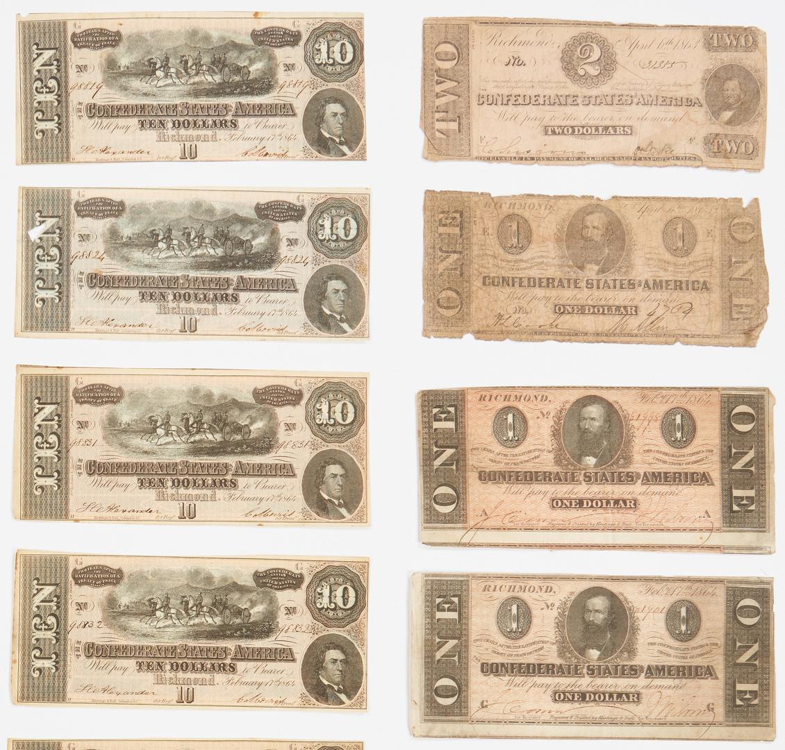 Lot 762: 28 Confederate Bills, incl. $50, $20, $10
