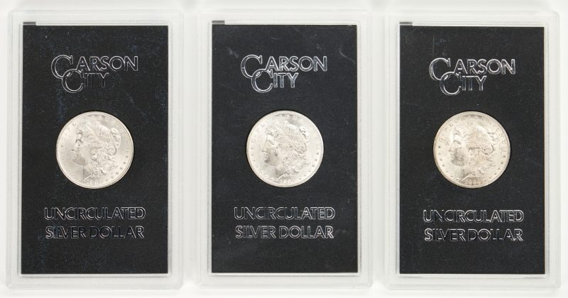 Lot 764: 3 Carson City Morgan Silver Dollars, Uncirculated