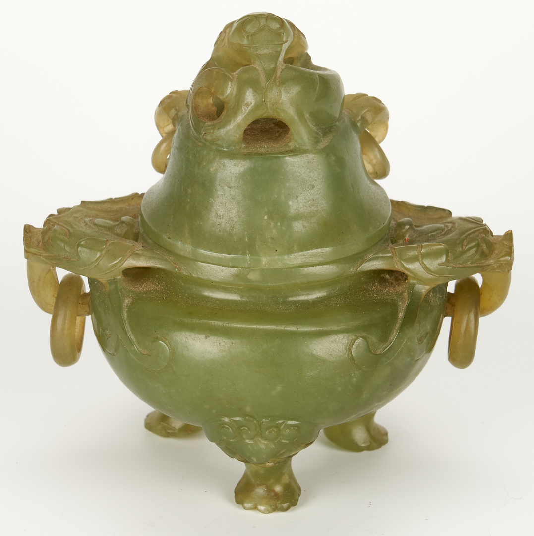 Lot 7: 2 Lidded Censers and Guanyin Figure
