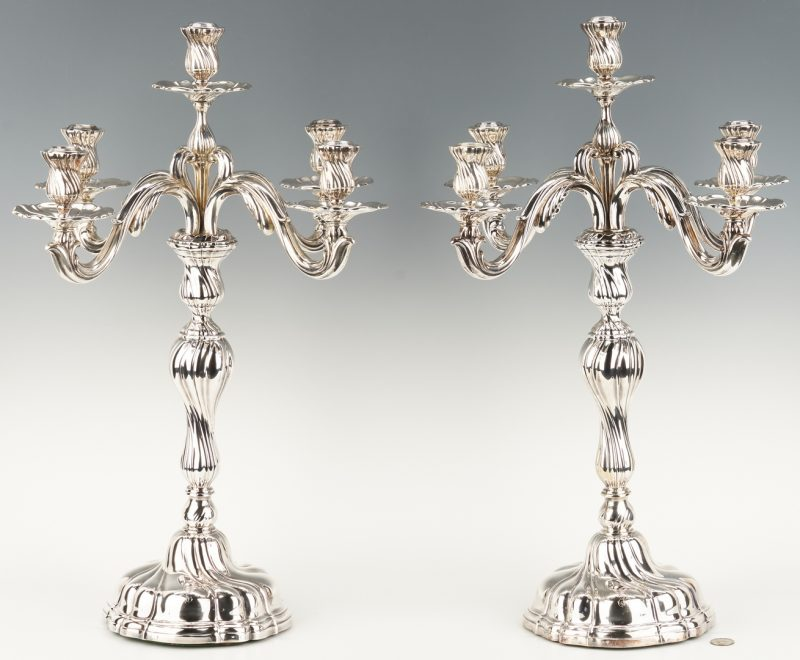 Lot 801: Pair Jugendstil .800 Silver Candelabra