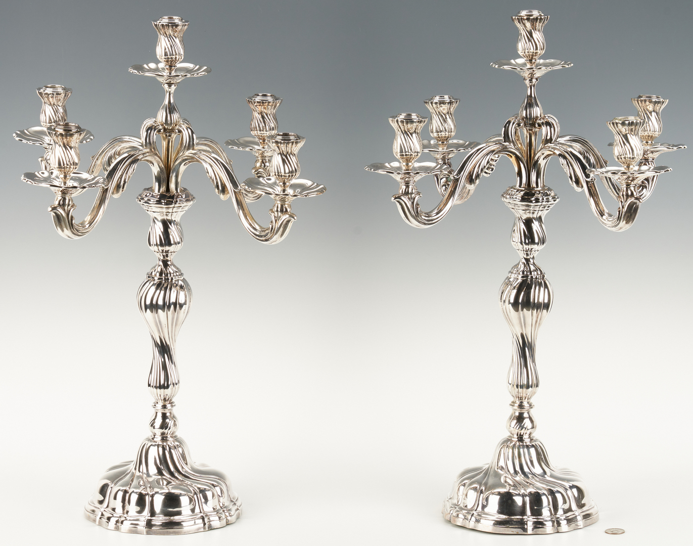 Lot 801: Pair Jugendstil .800 Silver Candelabra