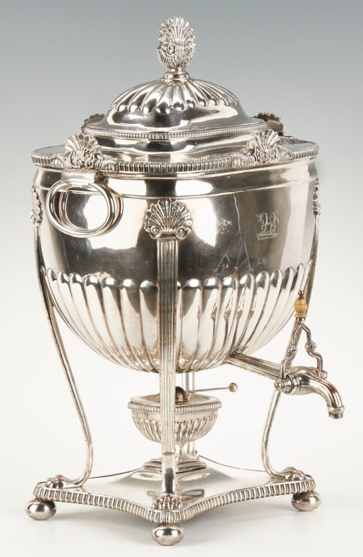 Lot 803: Old Sheffield Plate Hot Water Urn, Cow Crest