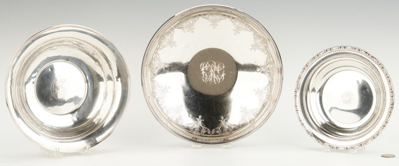 Lot 810: 3 Sterling Silver Bowls, incl. Towle footed