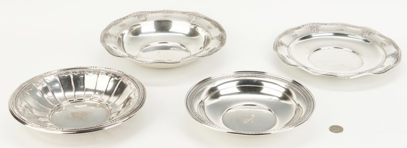 Lot 812: 4 Sterling Bowls, incl. Wallace Rose Point