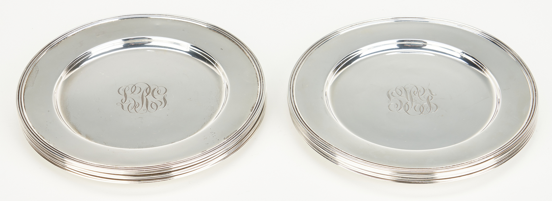 Lot 813: 12 Sterling Silver Bread Plates, JS Co.