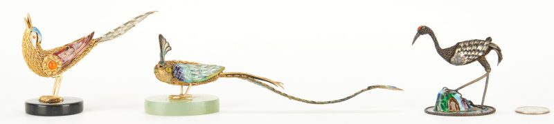 Lot 815: 3 Enameled Miniature Birds, incl. Suhai