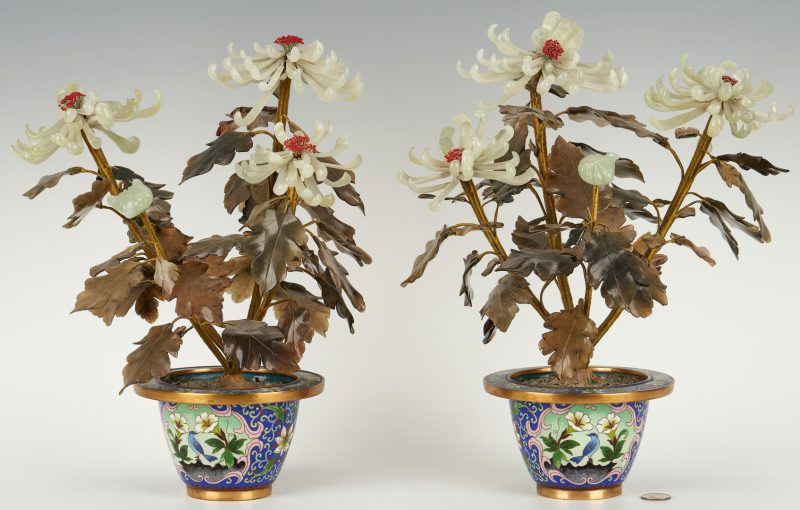 Lot 821: Chinese Hardstone Trees w/ Cloisonne Jardinieres