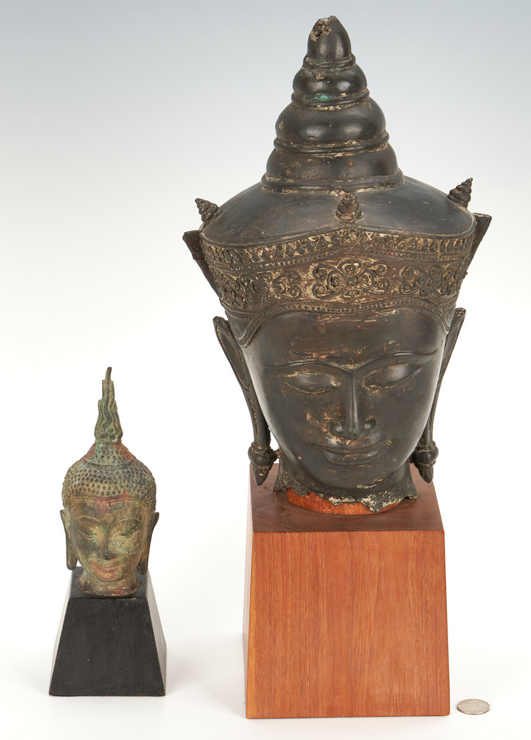 Lot 822: 4 Asian Bronzes incl. Temple Dogs & Buddha