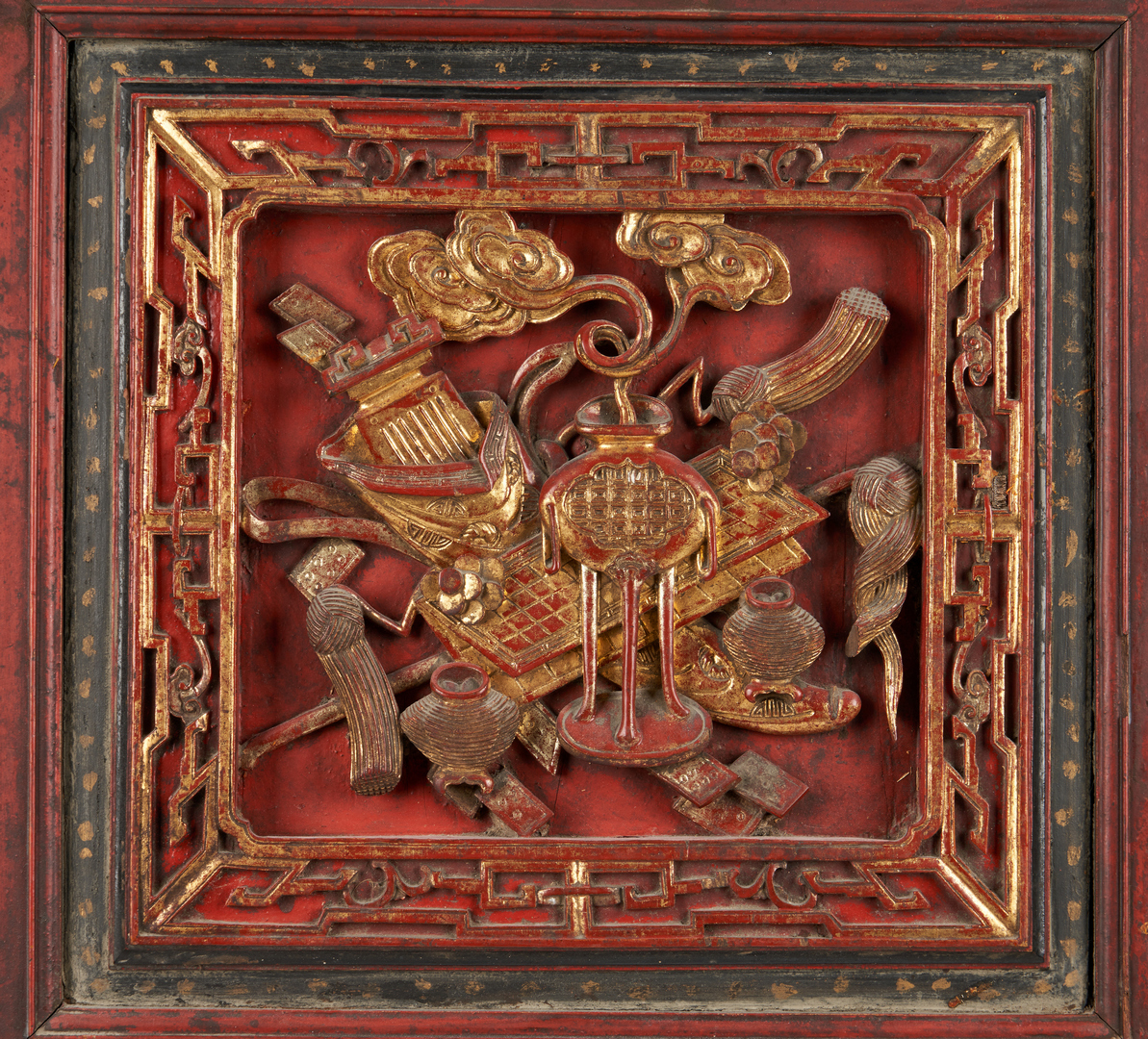 Lot 823: Pr. Chinese Red & Gilt Carved Cabinet Doors