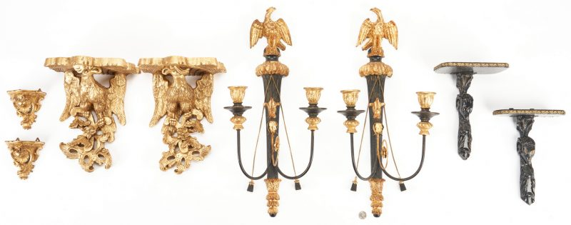 Lot 824: 4 Pairs Wall Sconces or Brackets including 2 Ebonized