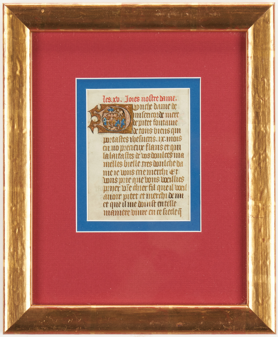 Lot 825: 3 Religious Artworks, incl. French Illuminated Manuscript