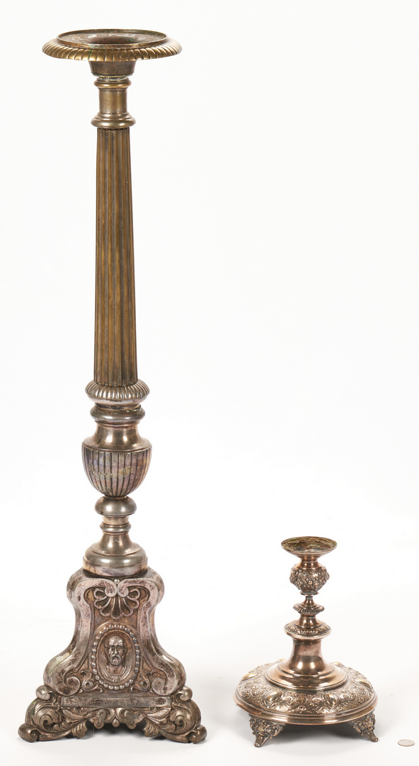 Lot 827: 2 Altar Candlesticks plus Cherub Carving
