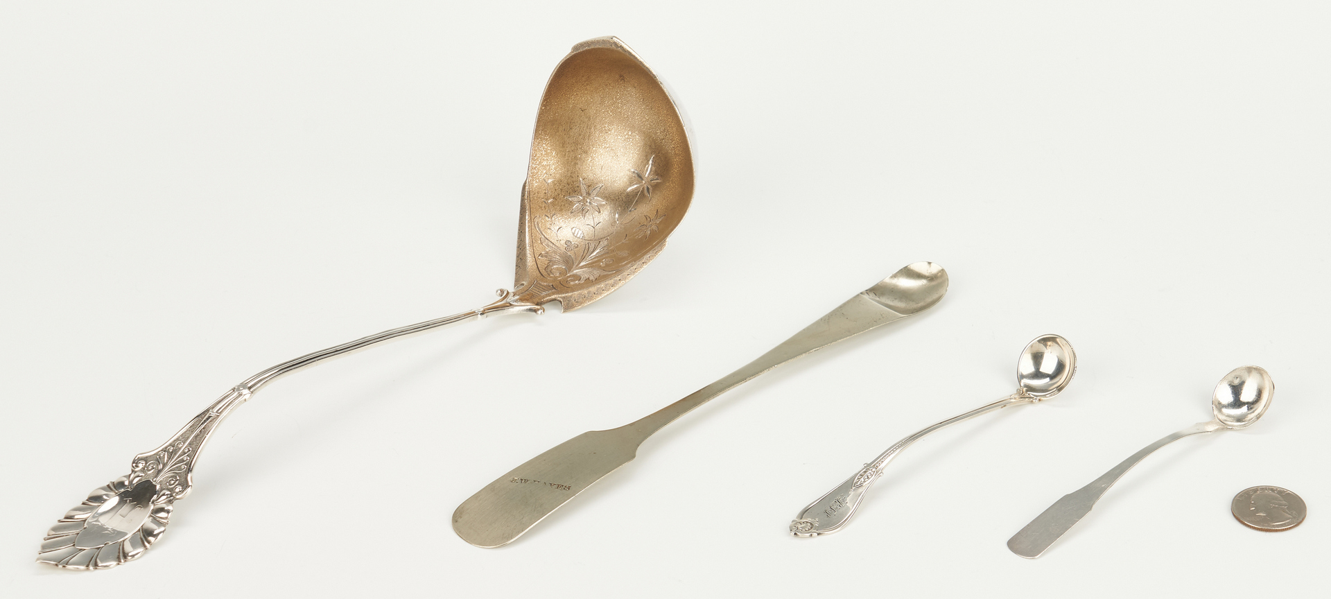 Lot 82: TN Coin Silver Ladles and Medicine Spoon, 4 pcs