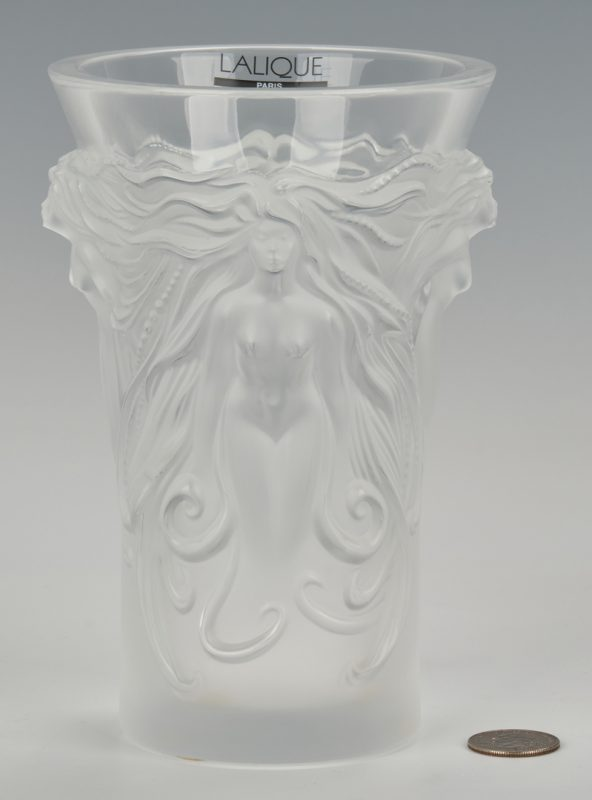 Lot 830: Lalique Nude Female Figural Vase
