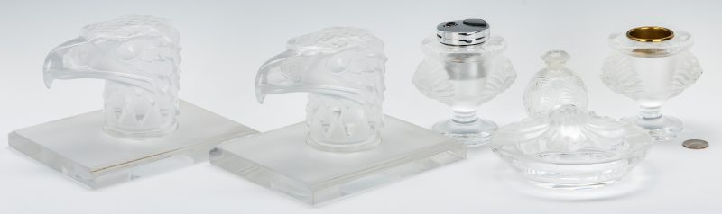 Lot 831: Group of Lalique Glass, 6 pcs. incl. Smoke Set