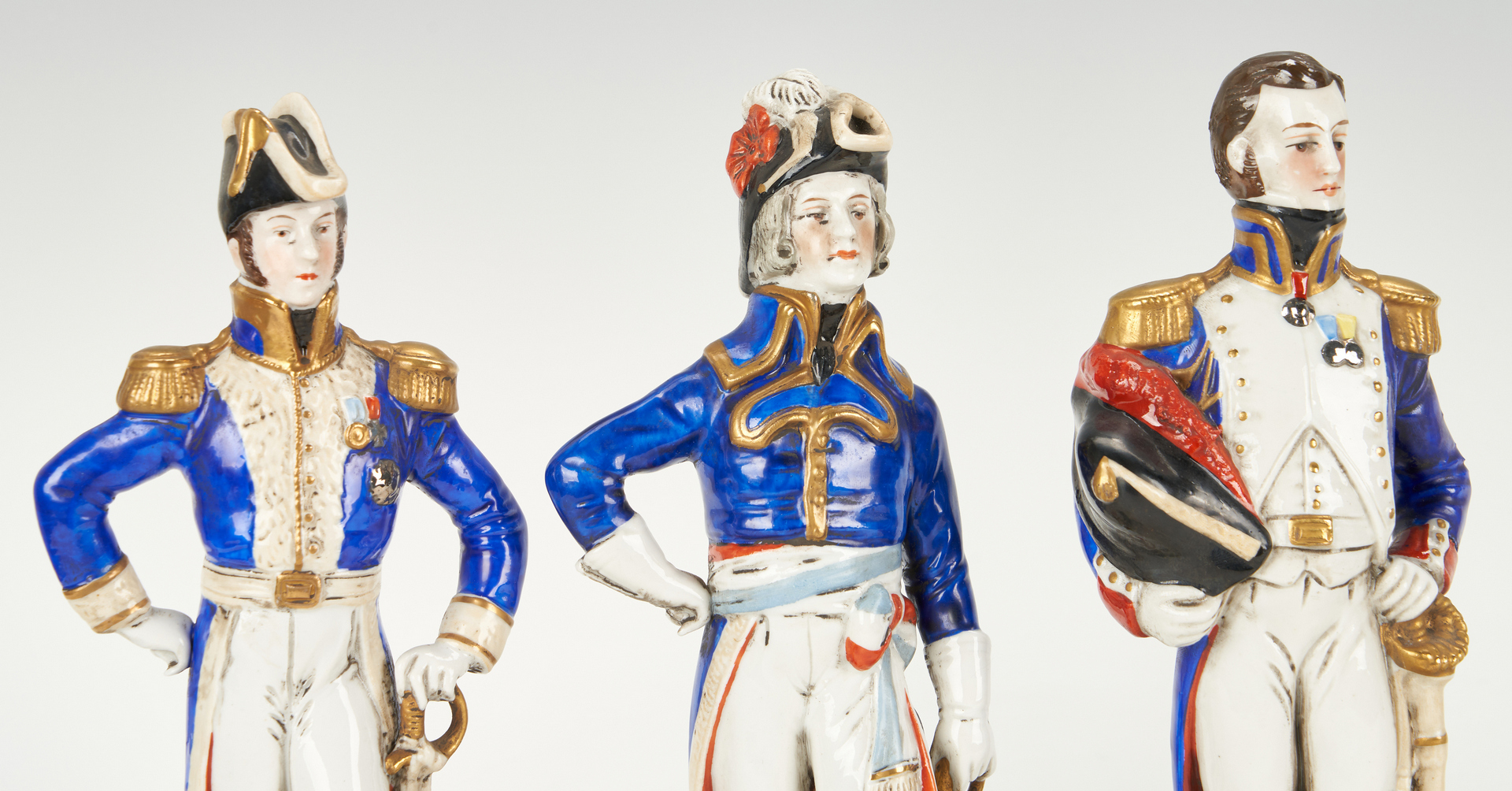 Lot 837: 6 Sitzendorf Porcelain Napoleonic Figures