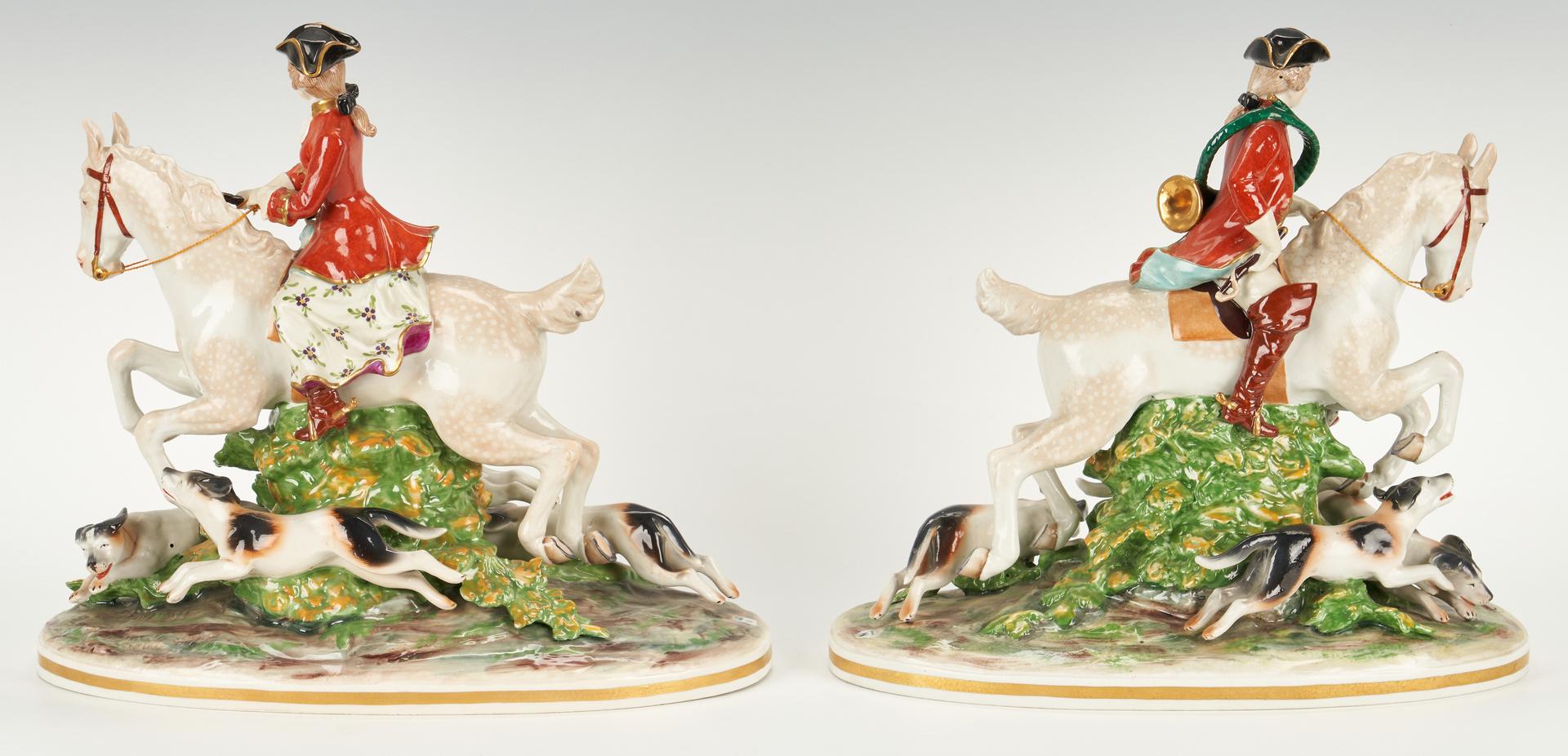 Lot 838: 2 Capodimonte Hunt Scene Figurals