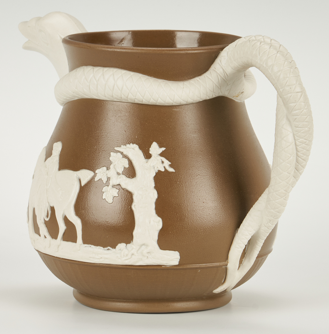 Lot 841: Pitcher with Hunt Scene and Figural Spout