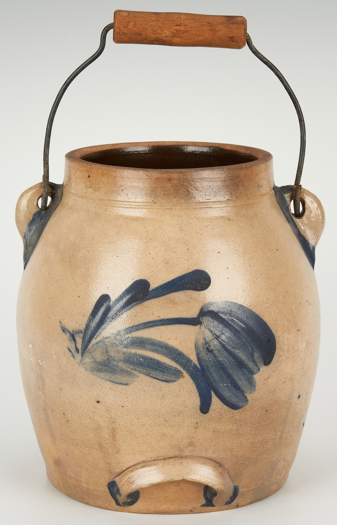 Lot 843: Cowden & Wilcox Stoneware Batter Jug with Tin Covers