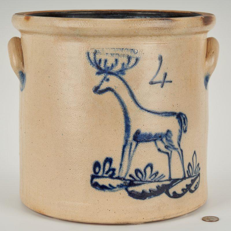 Lot 844: T. Harrington/Lyons Stoneware Crock w/ Cobalt Deer