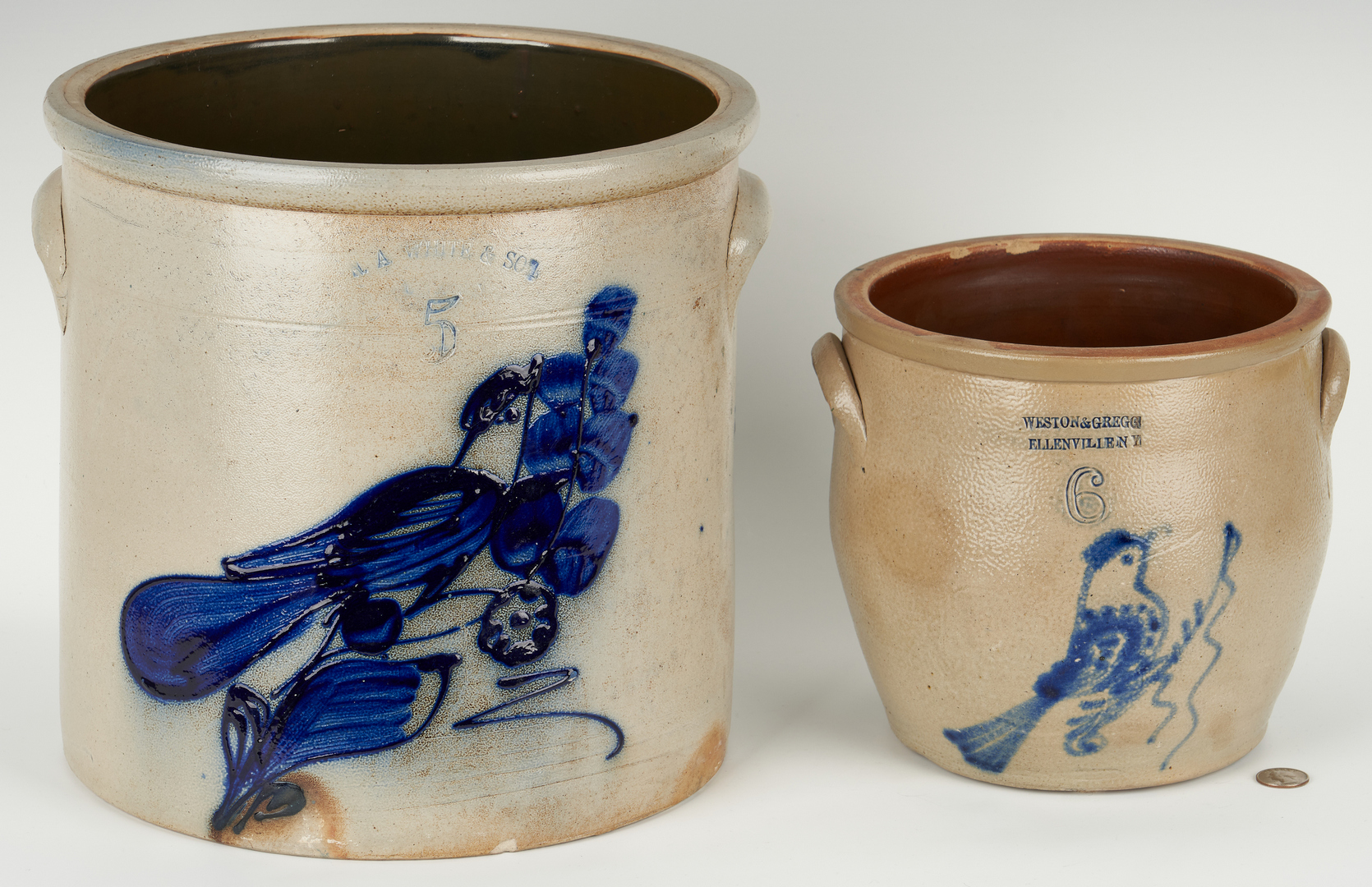 Lot 847: 2 New York Cobalt Decorated Pottery Items