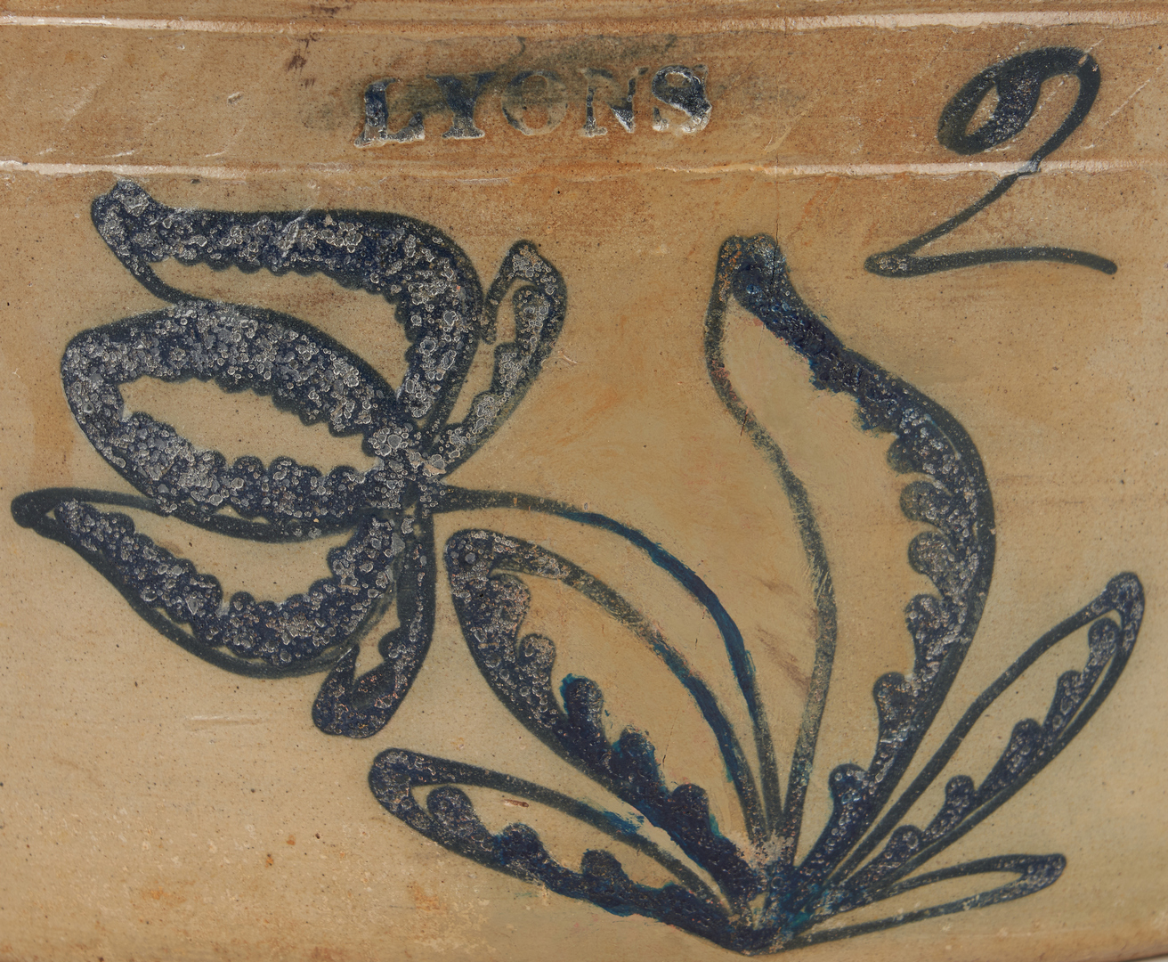 Lot 849: 2 Cobalt Decorated Pottery Items, NY & MA