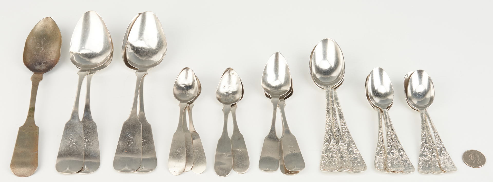 Lot 84: 19th c. TN Silver Flatware, incl. Negrin, Hope