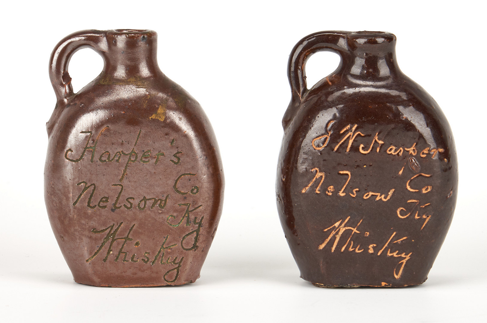 Lot 851: 5 Kentucky I. W. Harper Stoneware Advertising Jugs