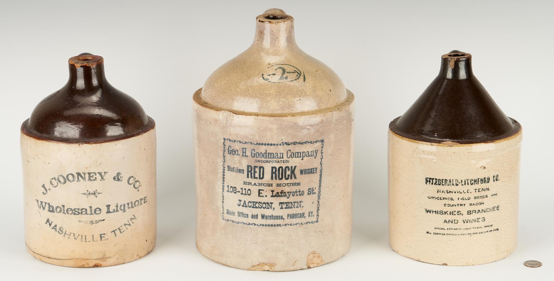 Lot 856: 3 TN Whiskey Advertising Stoneware Jugs