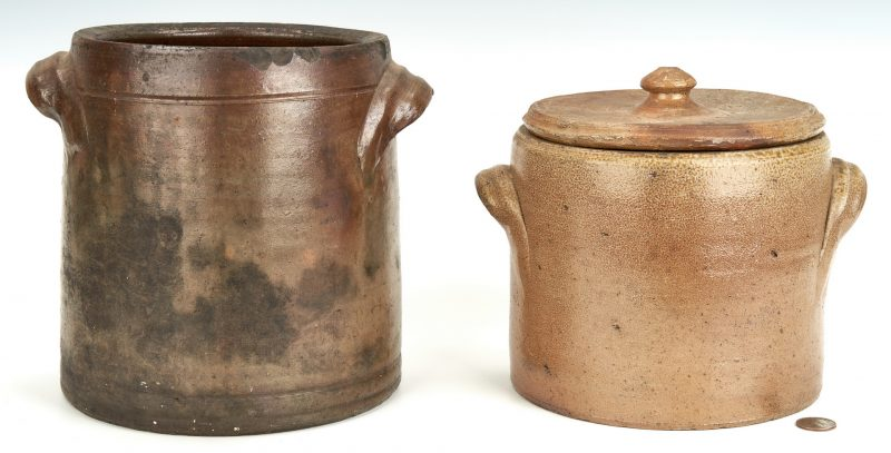 Lot 858: 2 NC Stoneware Pottery Jars, Craven & Crisco