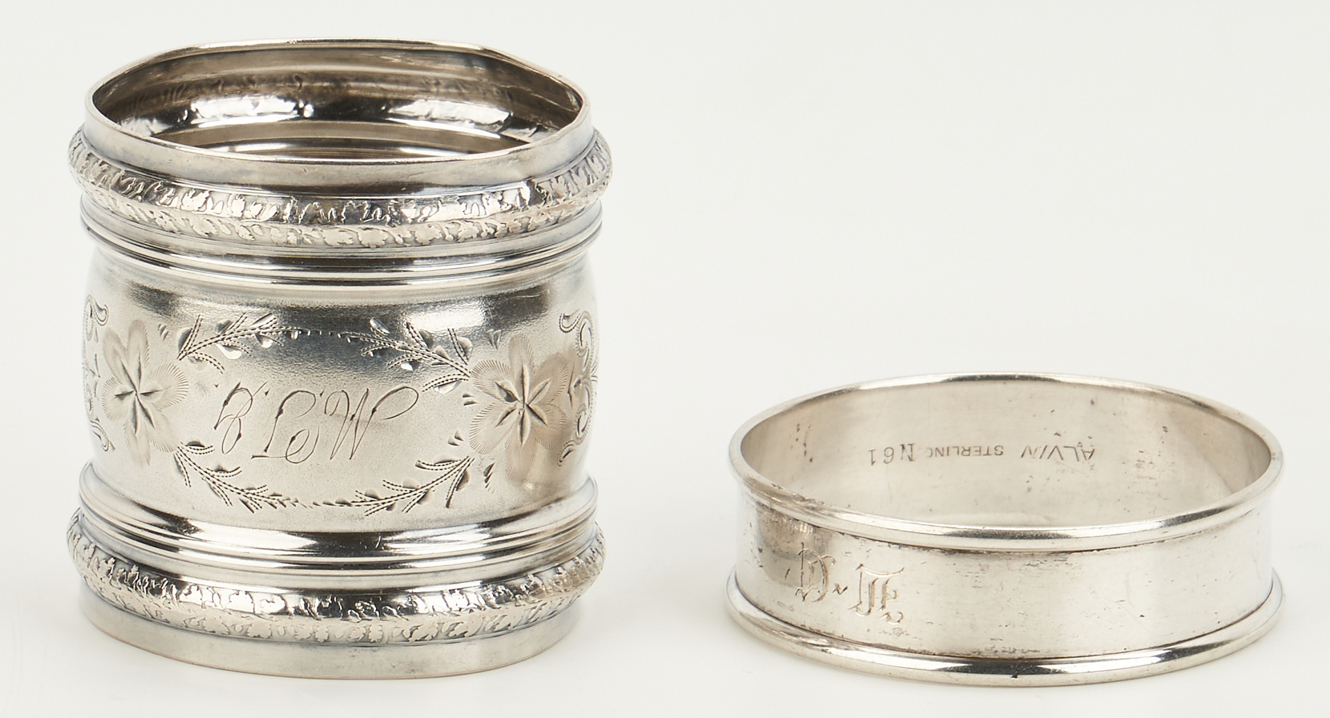 Lot 85: 5 Coin Silver Spoons incl. TN, plus 2 Napkin Rings