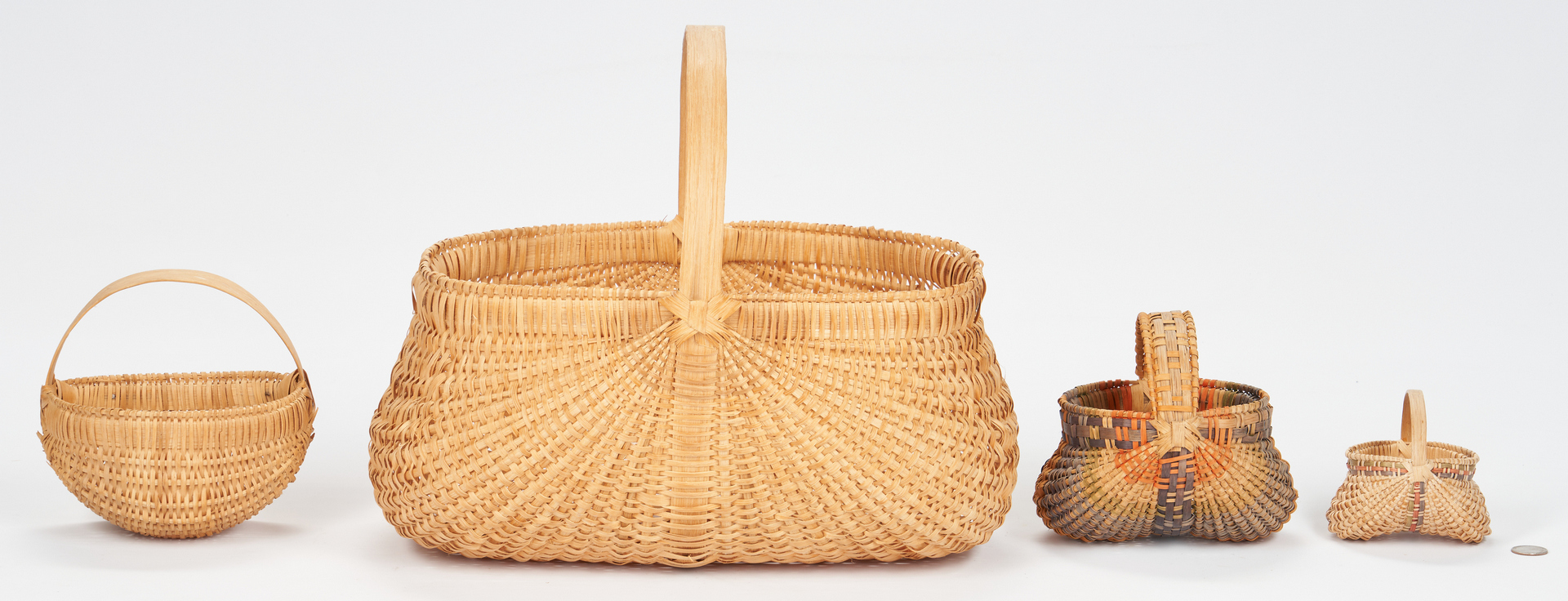 Lot 863: 4 Contemporary Southern Split Oak Baskets