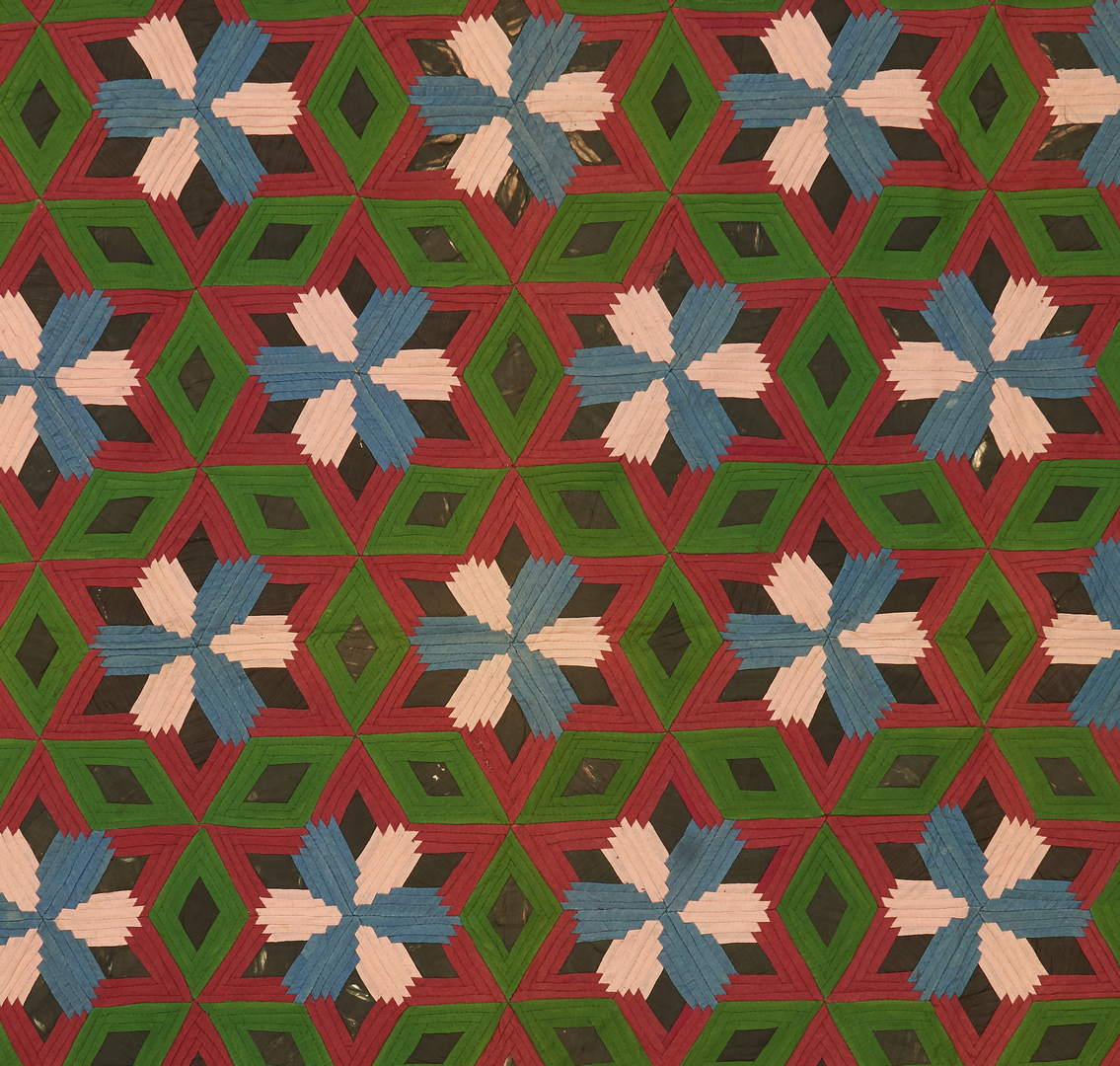 Lot 865: American Wool & Cotton Quilt, Pineapple variant