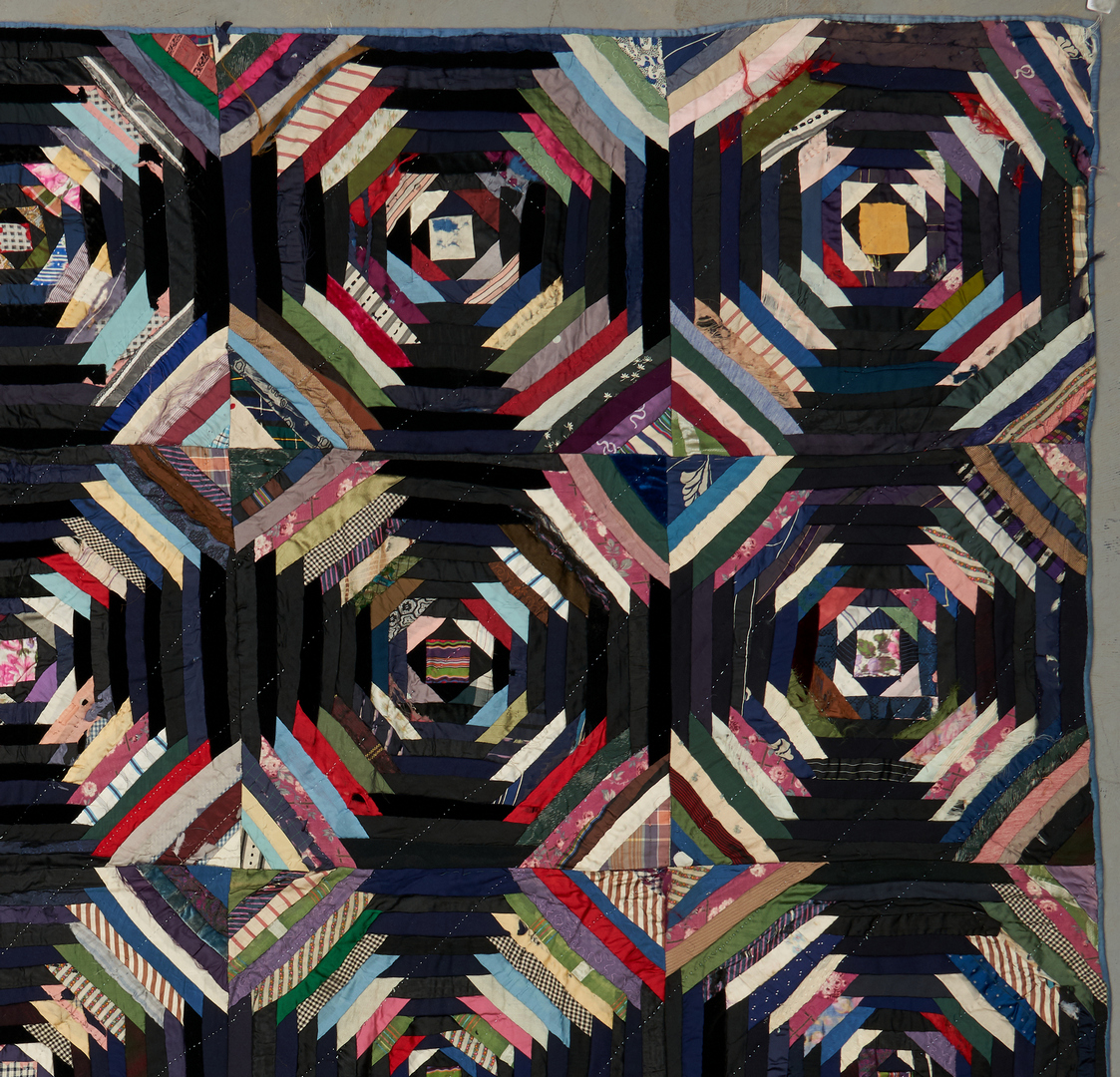 Lot 869: American  Windmill Blade/Pineapple Log Cabin Quilt