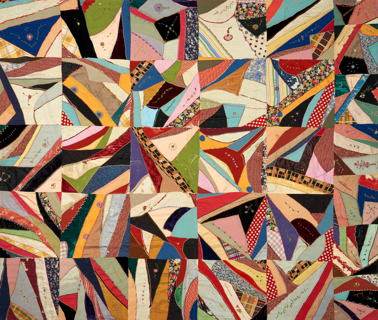 Lot 870: American Signed Crazy Quilt