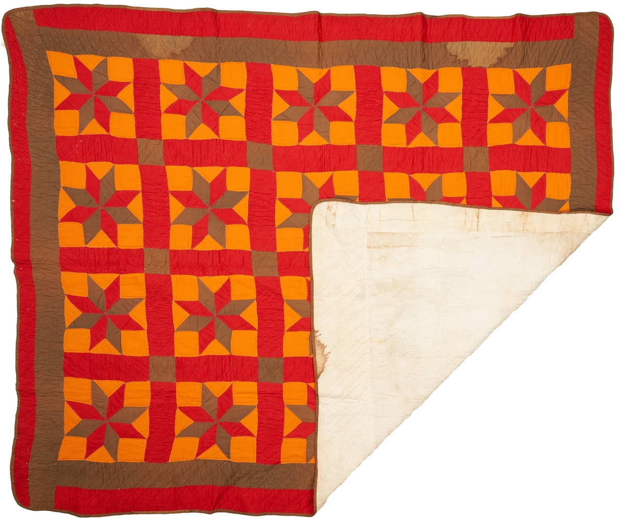 Lot 871: Southern Pieced & Appliqued Quilt, LeMoyne Star Pattern